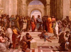 "The School of Athens, by Raphael. To ""educate"" is ""to lead out."" This is what an actual school for free people looks like: relaxed conversation and observation among people free to move in reality."